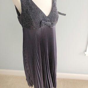 NWT JS Boutique Purple Beaded Pleated Dress 14